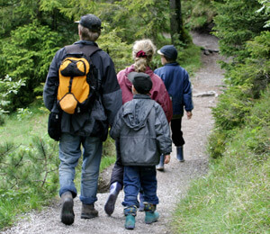 Family hiking through the forest