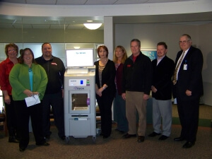 Representatives from St. Luke's, St. Luke's Foundation, Charter Media and Como Oil attended the official unveiling of the Faxitron BioVision.