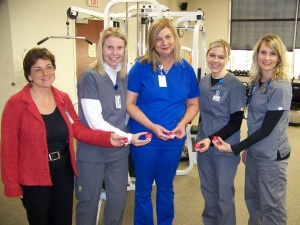 Cardiac services manager Julie Clark (left) with the Tele-not-so-tubbies team from St. Luke's Cardiac Rehabilitation Gym.