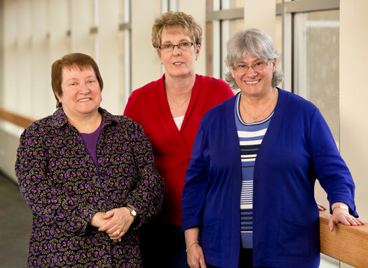 "Theresa ""Terri"" Langlois, Gale Bouchard, and Mary Laverdiere were honored for their 45 years of service to St. Luke's and its patients."